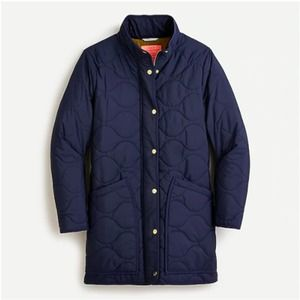 J. Crew Quilted Cocoon Puffer S navy NWT